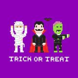Pixel art game style cartoon halloween mummy, dracula, zombie Royalty Free Stock Images