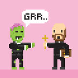 Pixel art game style halloween zombie and priest vector Stock Images
