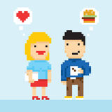 Pixel art game style office colleagues in love vector. Illustration Royalty Free Stock Photography