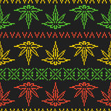 Pixel art game style rasta weed leaf seamless vector background Stock Photography