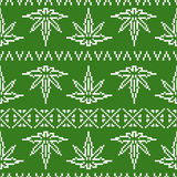 Pixel art game style sweater weed leaf seamless vector pattern Stock Photos
