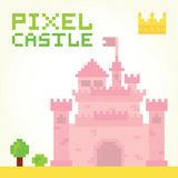 Pixel art girl castle  vector Stock Photography