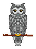 Pixel art gray forest horned owl sitting on a branch royalty free illustration