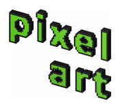 Pixel art green text. 3d Pixel art text made of pixel blocks isolated on white background Stock Photos