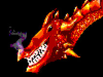 Pixel art grinning red dragon stock photography