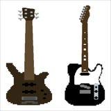 Pixel art guitar vector set Stock Image
