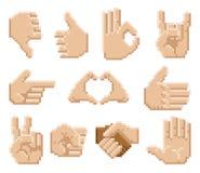 Pixel Art Hand Icons Imágenes de archivo libres de regalías