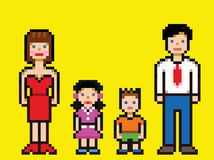 Pixel art happy family video game style vector. Illustration vector illustration