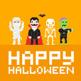 Pixel art happy halloween vector illustration Royalty Free Stock Images