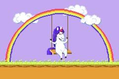 Pixel art happy unicorn riding on a swing hanging on a rainbow vector. Pixel art happy unicorn riding on a swing hanging on a rainbow vector illustration