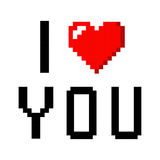 Pixel art heart I love you color icon valentine. Pixel art heart love color icon valentine set royalty free illustration