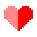 Pixel art heart love color icon valentine. Set Royalty Free Stock Images