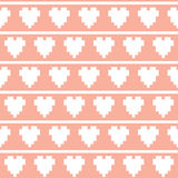 Pixel art heart seamless vector pattern Stock Images