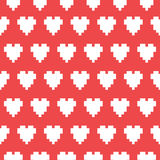Pixel art heart seamless vector pattern Royalty Free Stock Images