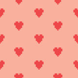 Pixel art heart seamless vector pattern Stock Photos