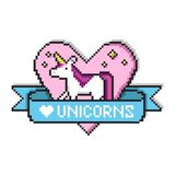 Pixel art heart with unicorn for badges or game design. vector illustration