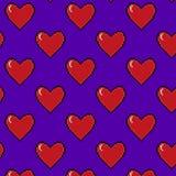 Pixel art heart vector pattern. Pixel art heart seamless vector pattern Royalty Free Stock Photos