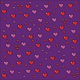 Pixel art hearts background, video game style illustration. Pixel art hearts background, video game style vector illustration royalty free illustration