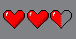 Pixel art hearts for game. Vector pixel art 8 bit style hearts for game. Colorful stylized illustration with concept of spendable lives game mode. Two full royalty free illustration
