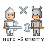 Pixel art hero and enemy Royalty Free Stock Image