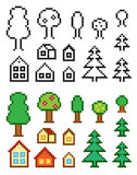 Homes and trees vector illustration