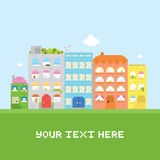 Pixel art house vector set card Stock Photos