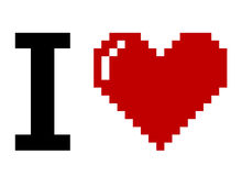 Pixel Art I Love You Stock Images