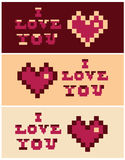 Pixel art i love you Heart and Text set banners Royalty Free Stock Photos
