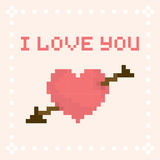 Pixel art I love you valentines day card Royalty Free Stock Image