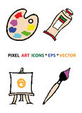 Pixel art icons set. Palette, tube, easel, paintbrush on white background Stock Photos