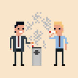 Pixel art Illustration of office workers smoking  Stock Image