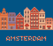 Pixel art illustration shows amsterdam holland Stock Photo
