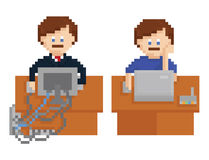 Pixel art illustration shows office table with Stock Image
