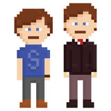 Pixel art illustration of two men, young and adult Royalty Free Stock Photos