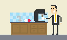 Pixel Art Image Of Businessman Making Coffee In Office vector illustration