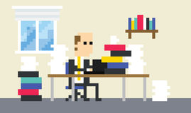 Pixel Art Image Of Businessman Working At Desk Stock Image