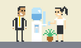 Pixel Art Image Of Businesspeople By Water Cooler In Office Stock Images