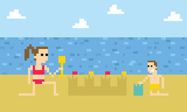 Pixel Art Image Of Children Building Sandcastle On Beach Royalty Free Stock Photos