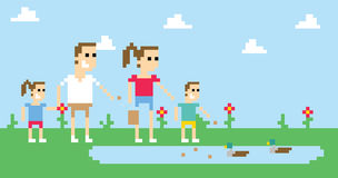 Pixel Art Image Of Family Feeding Ducks In Park Royalty Free Stock Photography
