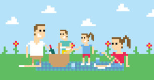 Pixel Art Image Of Family Having Picnic In Park Stock Photography