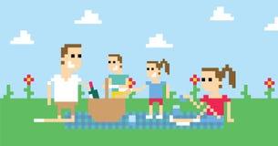 Pixel Art Image Of Family Having Picnic In Park vector illustration