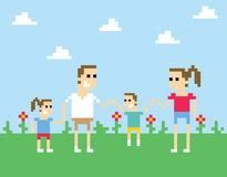 Pixel Art Image Of Family Holding Hands In Park Stock Photos