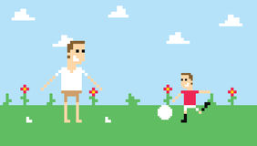 Pixel Art Image Of Family Playing Football In Park stock illustration