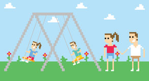 Pixel Art Image Of Family Playing On Swings In Park royalty free illustration