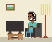 Pixel Art Image Of Gamer Playing em linha em casa Fotografia de Stock Royalty Free
