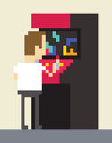 Pixel Art Image Of Gamer Playing On Retro Arcade Machine Royalty Free Stock Image