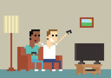Pixel Art Image Of Gamers Playing Together At Home vector illustration