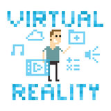 Pixel Art Image Of Man Amongst Virtual Reality Graphics Stock Images