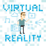 Pixel Art Image Of Man Amongst Virtual Reality Graphics vector illustration