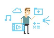 Pixel Art Image Of Man Amongst Virtual Reality Graphics stock illustration
